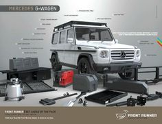 front runner g wagen accessories Mercedes G Wagon, Mercedes Benz G Class, 4x4 Van, Off Road Camper, Expedition Vehicle, Vw Cars, Camping Car, Dream Cars, Dream Big