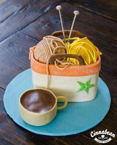 Sculpted cake - knitting theme Knitting Cake, Bag Cake, Sculpted Cakes, Knitted Bags, Celebration Cakes, Custom Cakes, Cake Ideas, Desserts, Food