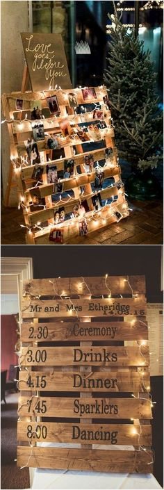 rustic wood pallet wedding photo display #rusticwedding #countrywedding #country #wooden #wedding #weddingideas #weddingdecor / http://www.deerpearlflowers.com/rustic-country-wooden-pallet-wedding-ideas/