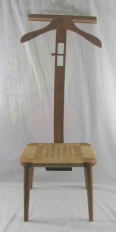 Vintage Mid Century Danish Modern Amcrest Valet Chair Butler Rope Seat  Stand NR