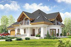 Projekt domu z poddaszem o pow. 186,8 m2 z obszernym garażem, z dachem namiotowym, z tarasem, z wykuszem, sprawdź!