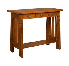 Amish Freemont Mission Writing Table Desk The Freemont is full of solid wood durability. What wood and stain matches your home best? Pick from a variety of wood types and stains. This writing table is great for setting up your laptop, or it easily serves as an attractive hall or foyer table. Amish made in America. #writingtable #writingdesk #officefurniture