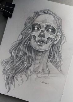 DeviantArt: More Like Joanna by sashajoe Dark Art Drawings, Pencil Art Drawings, Art Drawings Sketches, Tattoo Sketches, Cool Drawings, Desenho Tattoo, Estilo Anime, Skull Art, Art Sketchbook