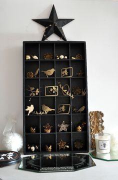 cut out birds and such fill the shelves