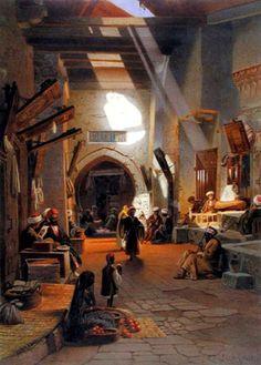 Bazaar at Girgah 1873, (C19)  by Carl Friedrich Heinrich Werner  watercolor