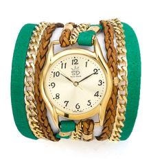 Green Soft Leather and Chain Wrap Watch