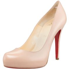 Christian Louboutin Rolando Platform Red Sole Pump, Nude ($795) ❤ liked on Polyvore