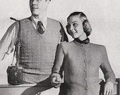 Knitted Men's Sleeveless Pullover and Women's Cardigan by padurns. $2.50, via Etsy.