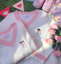 Sweet Cute Strawberry Peach Embroidery Student Sweater Harajuku V-neck Knitted Women Sweater Cotton Pullover Girls Sweater Coat sold by Triple L. Shop more products from Triple L on Storenvy, the home of independent small businesses all over the world. Pastel Fashion, Kawaii Fashion, Cute Fashion, Urban Fashion, Fashion Outfits, Fashion Styles, Fashion Boots, Womens Fashion, Boho Fashion