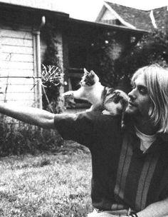 Kurt Cobain and kitten