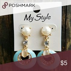Blue Drop Earrings Classy retro look earrings perfect for today. Post style earrings with gold tone base. Faux pearls and rhinestones complete the look. Measures approximately 2 inch drop and 1 inch at its widest. Jewelry Earrings