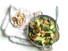 Roasted Brussels Sprouts with Walnuts and Grainy Mustard Sauce from Gatherings, by Julie Van Rosendaal and Jan Scott
