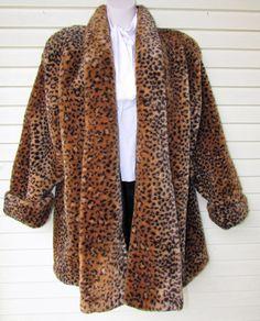 80s Faux Fur Leopard Coat Vintage 1980s Womens Monterey GORGEOUS Glam Rocker Full Swing Dress Overcoat L