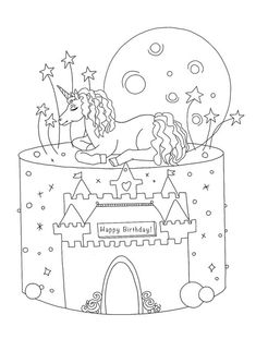 Birthday Unicorn cake coloring page Emoji Coloring Pages, Birthday Coloring Pages, Mermaid Coloring Pages, Cool Coloring Pages, Mandala Coloring Pages, Free Printable Coloring Sheets, Coloring Sheets For Kids, Unicorn Emoji, My Little Pony Unicorn
