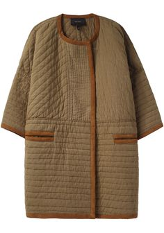 neutral, quilted Isabel Marant Coby Collarless Coat from: lagarconne Looks Style, My Style, Diy Vetement, Magnolia Pearl, Quilted Jacket, Quilted Coats, Quilted Clothes, Yohji Yamamoto, Mode Inspiration