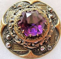 X LARGE Antique GAY 90's Metal BUTTON Amethyst GLASS with Cut Steels.