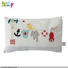EULE auf der Wäscheleine mit Affe, Kissen mit Name - Shopname: BABY LAL