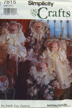 Simplicity 7815 Stuffed Bears and Clothing