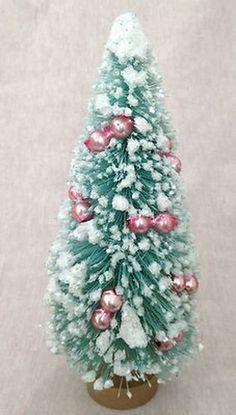 """Vintage 6"""" TURQUOISE AQUA with MERCURY GLASS BEADS Bottle Brush Christmas Tree (12/27/2012)"""