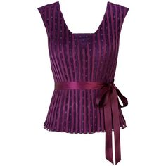 Jacques Vert Mesh and Ribbon Top, Grape (39 CAD) ❤ liked on Polyvore featuring tops, blouses, shirts, purple, tank tops, purple shirt, polka dot blouse, dotted shirts, slimming shirts and sleeveless tops