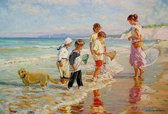 "Képtalálat a következőre: ""alexander averin painter"" Realistic Paintings, Paintings I Love, Beautiful Paintings, Beach Paintings, Art Plage, Russian Painting, Acrylic Painting Lessons, Painting People, Beach Print"