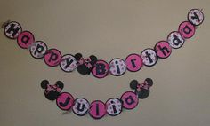 bow polka dot birthday food party theme birthday minnie mouse happy birthday banner black pink bow girly clubhouse  mickey party toddler kid baby disney