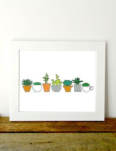 Succulent garden-cute succulent print for your kids room or nursery. Succulents Garden, As You Like, Printable Wall Art, Card Stock, Kids Room, Nursery, Printables, Prints, Cards
