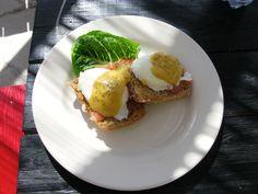 Delicious eggs benedict with salmon at Da Perk Coffee Shop Eleuthera