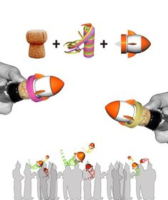 Rocket Roll eco champagne bottle rocket for New Year's Eve! It is an eco-friendly gadget designed to be totally safe and recyclable. Just plug a streamer, fix it on your champaine top and be ready for the countdown.
