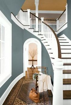 I like how the arrangement of branches is perfectly framed by the doorway. The wall color's cool, and the stairway is beautiful. Overall, an excellent composition.