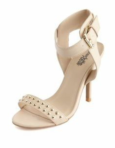 studded strap single sole pump