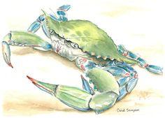 Chesapeake Bay Blue Crab signed & numbered by CarolSampsonArtworks, $49.00