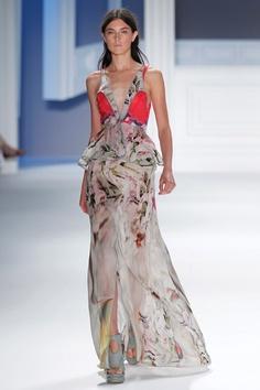 Vera Wang Printed Chiffon Dress