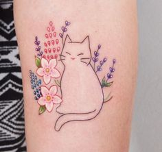 Floral Cat Tattoo by Jessica Channer · https://www.instagram.com/jessicachanner