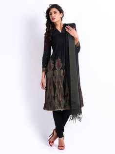 Women Black Silk Blend Anarkali Churidar Kurta with by ShopOfIndia, $149.99