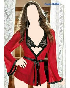 Sexy Women Red Mesh Long Sleeve Robe With Black Lace Bra and Thongs Black Lace Lingerie, Women Lingerie, Sexy Lingerie, Lingerie Sets, Black Bra, Ropa Interior Babydoll, Mini Vestidos, Sexy Girl, Spandex