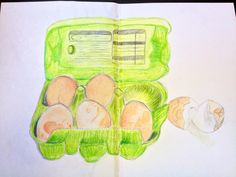 Box of eggs in coloured pencil