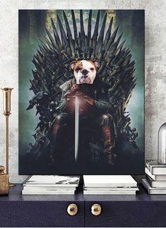 Custom Dog Portraits, Pet Portraits, Portrait Renaissance, Game Of Thrones Poster, Cool Posters, Dog Art, Game Art, Lion Sculpture, Statue