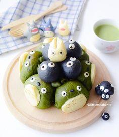 Totoro pull-apart buns by @littlemissbento