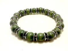 Green Bracelet Beaded Bracelet Wood Bracelet by ShamisesBlissful
