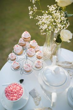 E-session decor ideas - cupcakes and mini naked cake made by the bride, inherited tableware...