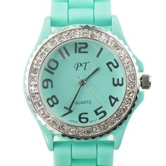 This would be a solid addition to my watch collection. Summer Mint Rhinestone Embellished Silicone Watch