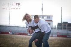 Football engagement photos - 5 Ways to Include Your Alma Mater in the Wedding