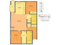Two Bedroom Floor Plan of Property Track 29 City Apartments. Track 29 City Apartments in uptown Minneapolis, with studio, 1 and 2 bedroom apartments for rent. New apartment community with fitness center, salt water pool, Zen garden and heated underground parking.