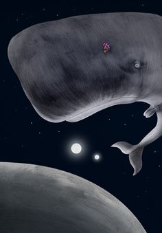'A Suprised Looking Whale and Bowl of Petunias', by Jonathan Burton Silver award for Book Illustration from The Association of illustrators. Selected for the American Illustration 29 Annual.