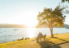 An Elderly Couple on a Bench by KMcLachlan Watch my New Zealand video | Instagram A loving older couple sitting together on a bench at sunset