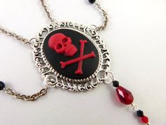 Red Skull & Crossbone Cameo Necklace and Earrings by angelyques, $40.00