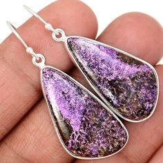 Variscite in Purpurite 925 Sterling Silver Earrings Jewelry VIPE17