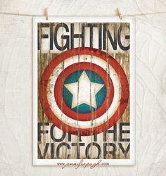 Captain America- 12x18 Art Print -Comic Art, Vintage, Home, Wall Decor -Superhero-Black, White, Brown, Red, Blue