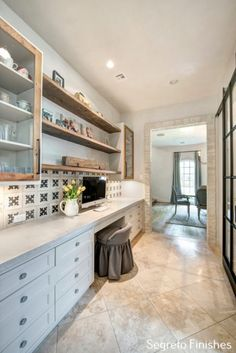 Come see more interior design inspiration with Exquisite Plaster Walls, Finishes and Segreto Stone. French Country Interiors, Country Interior Design, Interior Design Inspiration, Home Office Design, House Design, Mudroom Laundry Room, Parker House, Master Bath Remodel, Kitchen Office